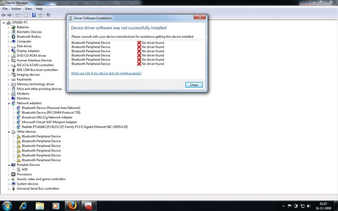 My Bluetooth Not Working After Installing Windows 7